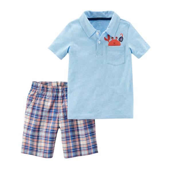 Little Boy's Aqua & Navy 2-Piece Shorts Set
