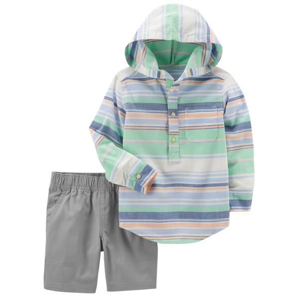 Little Boys' 2-Piece Short Set Green & Grey