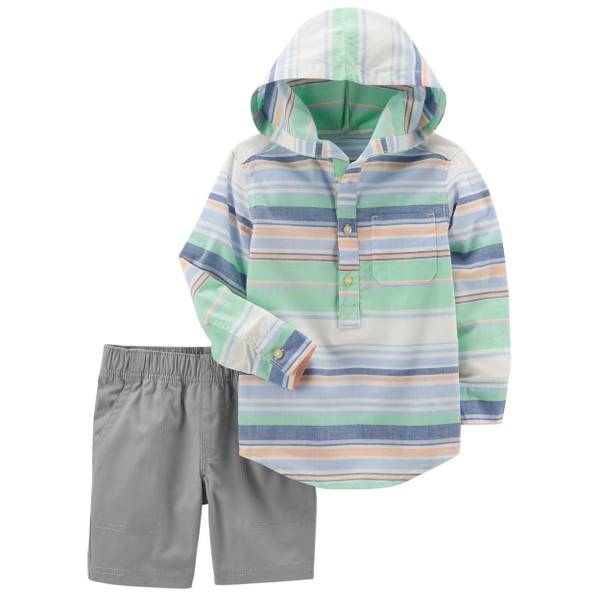 Toddler Boys' 2-Piece Short Set Green & Grey
