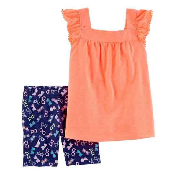 Little Girls' 2-Piece Short Set Orange & Navy