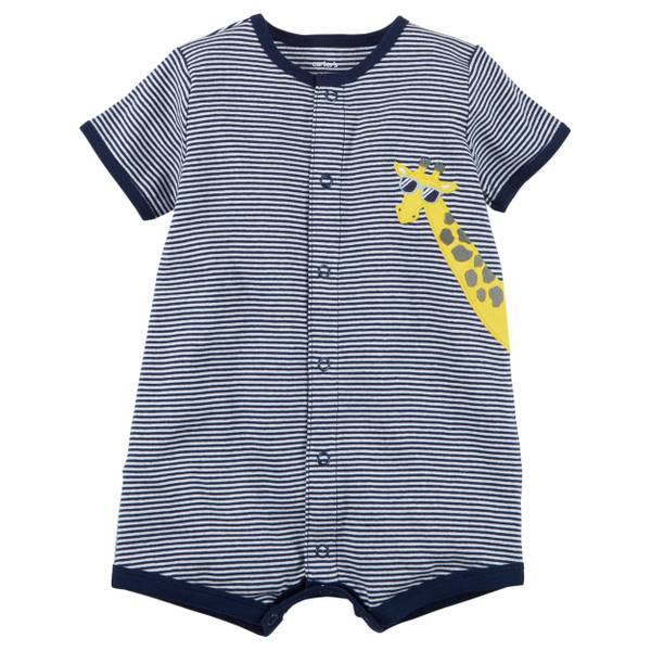 Infant Boy's Navy Snap-Up Cotton Romper