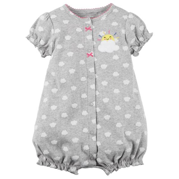 Infant Girl's Heather Snap-Up Cotton Romper