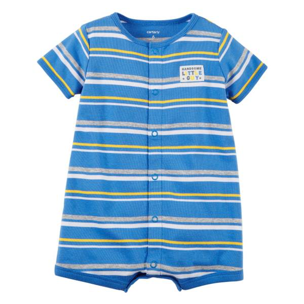 Infant Boy's Blue Snap-Up Cotton Romper