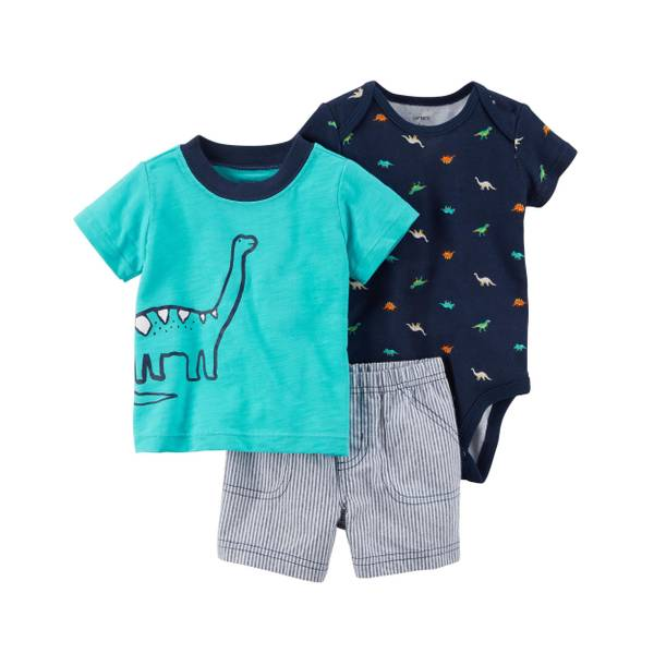 Infant Boy's Turquoise & Navy 3-Piece Little Shorts Set