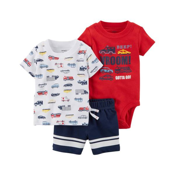Baby Boy's Navy, White & Red 3-Piece Little Shorts Set