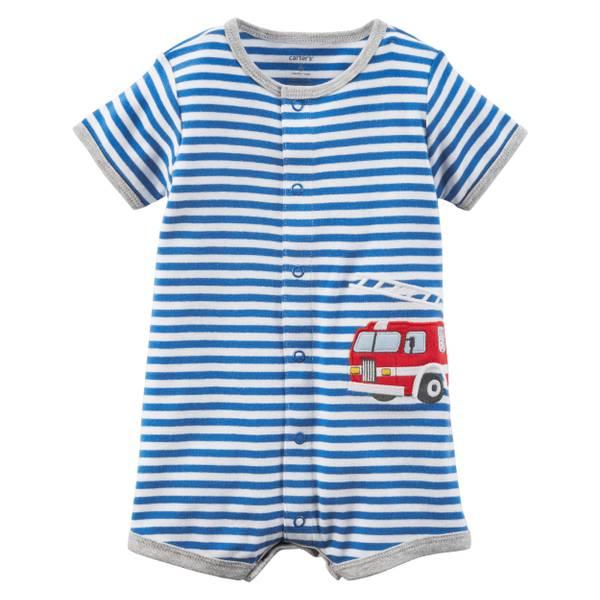 Little Boys' Romper Firetruck Blue & White