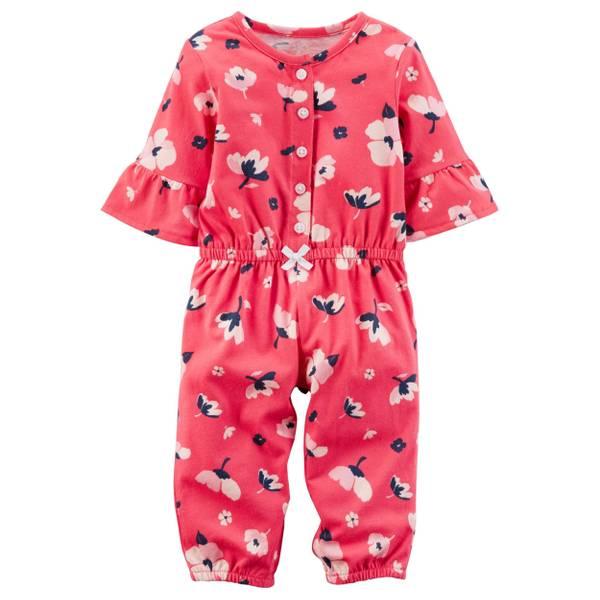 Infant Girl's Red Floral Jumpsuit