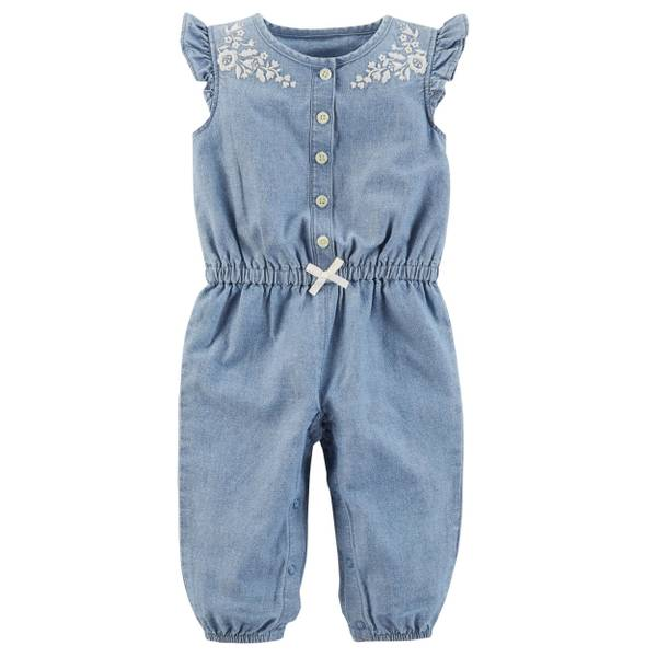Baby Girl's Blue Chambray Jumpsuit