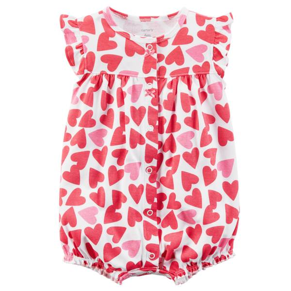 Little Girls' Romper Heart White & Red