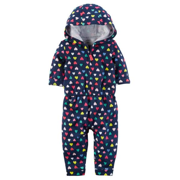 Infant Girl's Navy Heart Hooded Jumpsuit