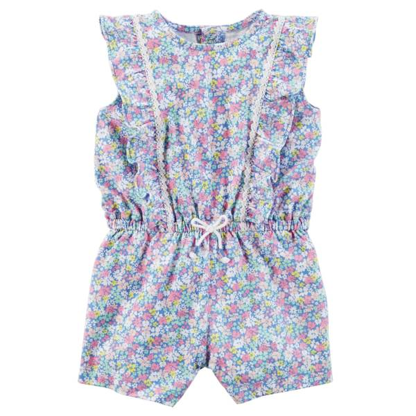 Infant Girl's Blue Floral Romper