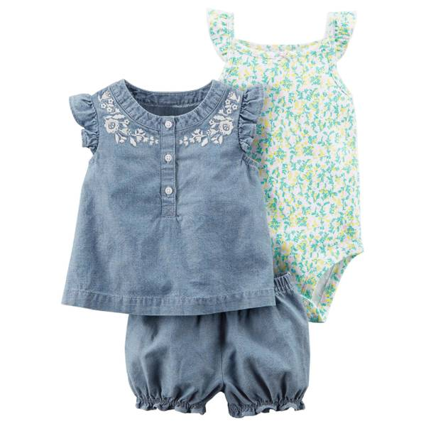Infant Girl's Blue & Green 3-Piece Bodysuit & Diaper Cover Set