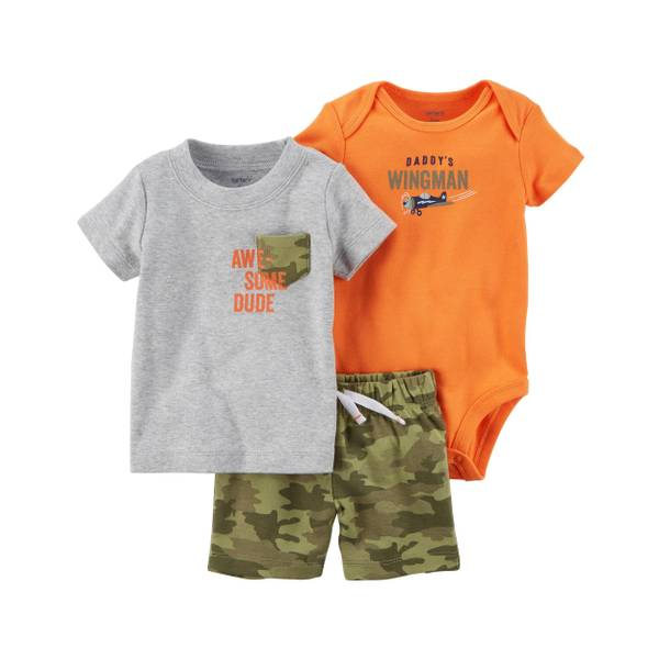 Infant Boy's Orange & Gray & Green 3-Piece Little Shorts Set