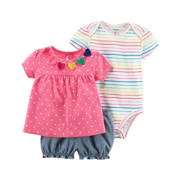 Infant Girl's Multi-Colored 3-Piece Bodysuit & Diaper Cover Set