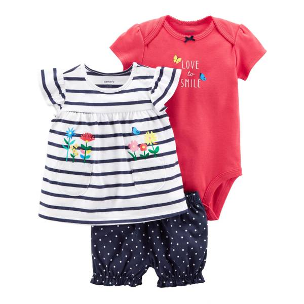 Infant Girl's White & Navy & Pink 3-Piece Bodysuit & Diaper Cover Set