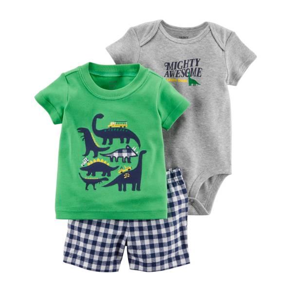 Little Boys' 3-Piece Diaper Cover Set Green & Grey & Navy