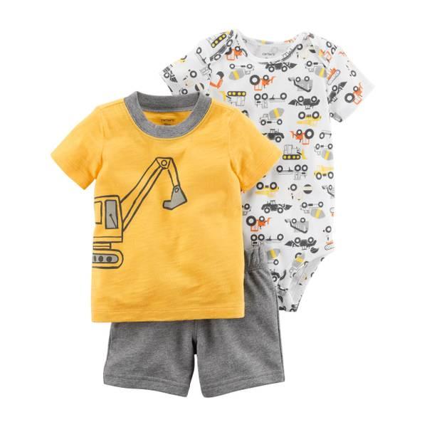 Baby Boy's Yellow & White & Gray 3-Piece Little Shorts Set