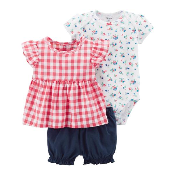 Baby Girl's Pink & White & Blue 3-Piece Bodysuit & Diaper Cover Set