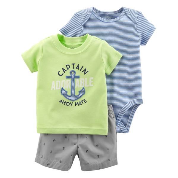Little Boys' 3-Piece Diaper Cover Set Green & Blue & Grey