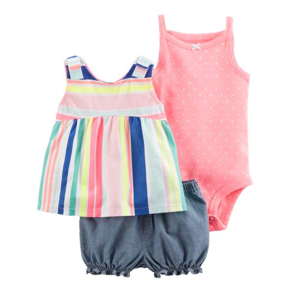 Little Girls' 3-Piece Diaper Cover Set Pink & Chambray