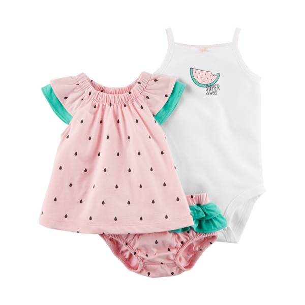 Little Girl's Pink, White & Green 3-Piece Diaper Cover Set