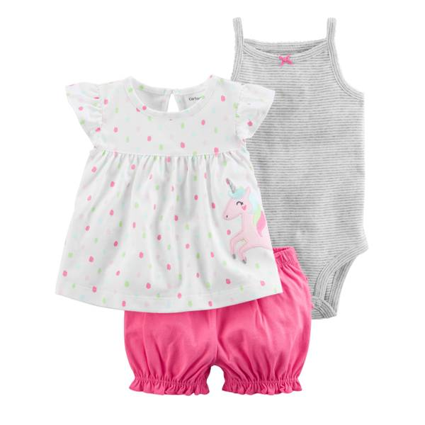 Little Girls' 3-Piece Diaper Cover Set Unicorn White & Pink