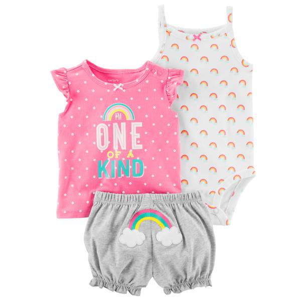Little Girls' 3-Piece Diaper Cover Set Pink & White & Grey