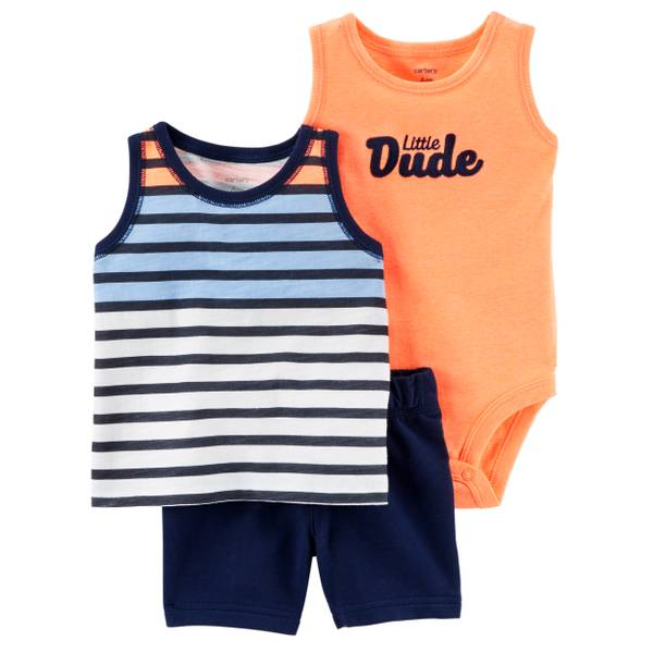 Baby Boys' Navy & Coral & White 3-Piece Diaper Cover Set