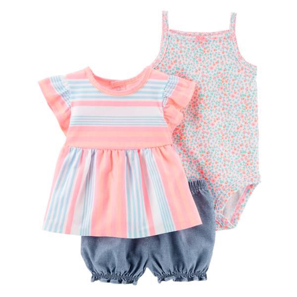 Little Girls' 3-Piece Diaper Cover Set Pink & White & Blue