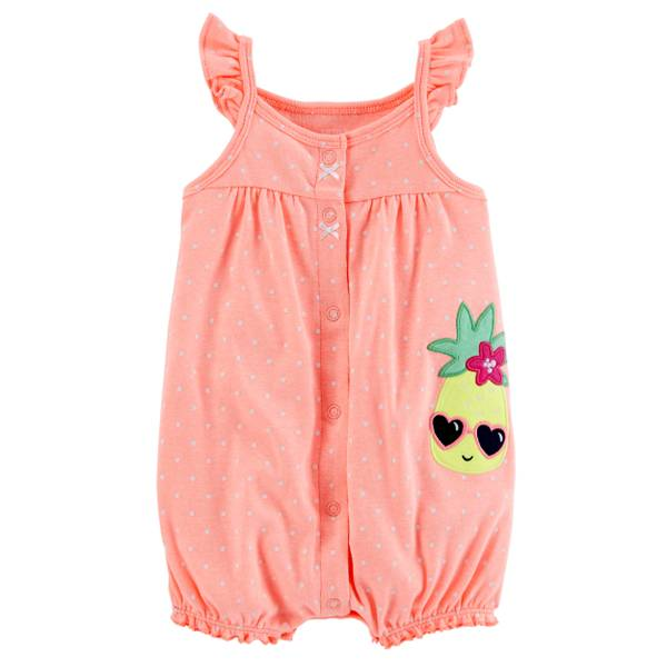 Little Girls' Sleeveless Romper Dot Orange