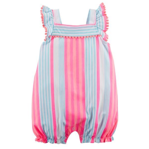 Little Girls' Sleeveless Romper Stripe Pink & Orange