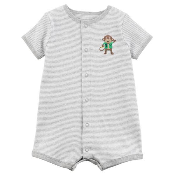 Little Boys' Romper Monkey Grey & Oatmeal