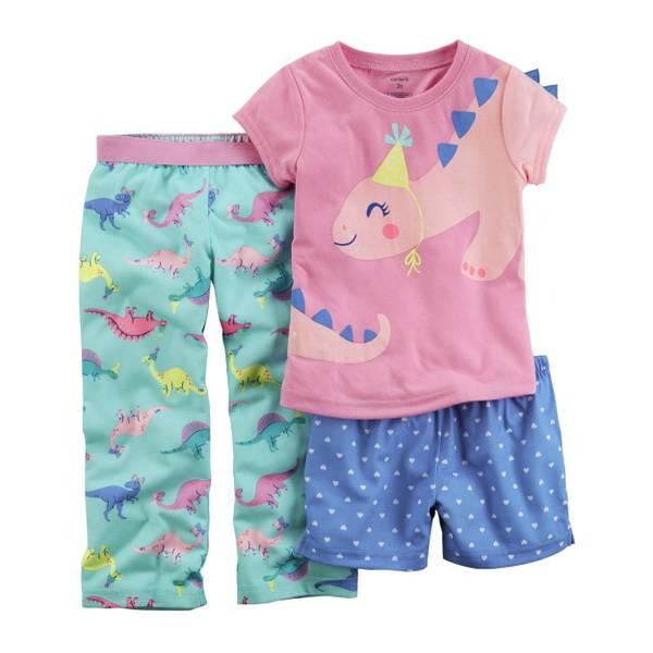Infant Girl's Blue & Gray 3-Piece Donut Jersey Pajamas