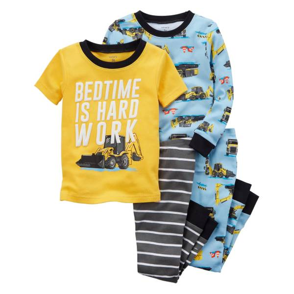 Little Boys' 4-Piece Snug Fit Cotton Pajamas