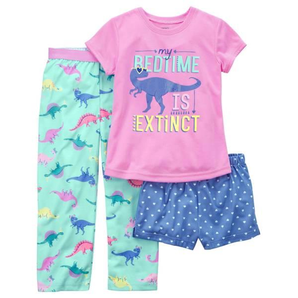 Little Girls' 3-Piece Polyester Sleepwear Pink & White