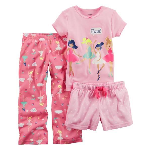 Toddler Girls' 3-Piece Polyester Sleepwear Pink & White
