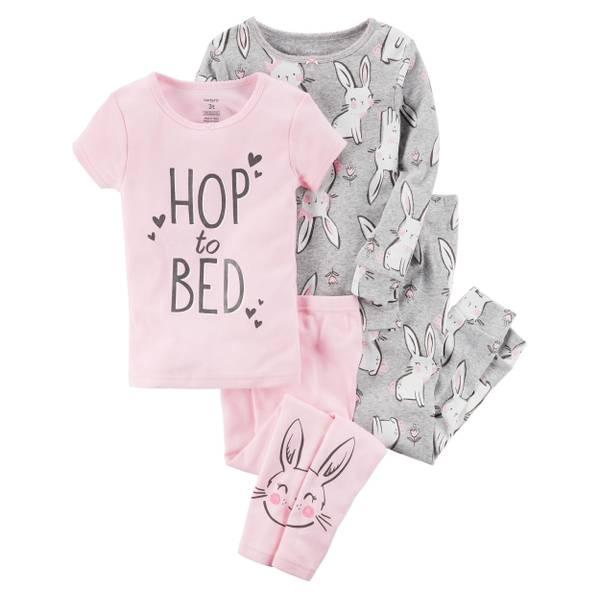 Girl's Gray & Pink Four-Piece Bunny Cotton Pajamas