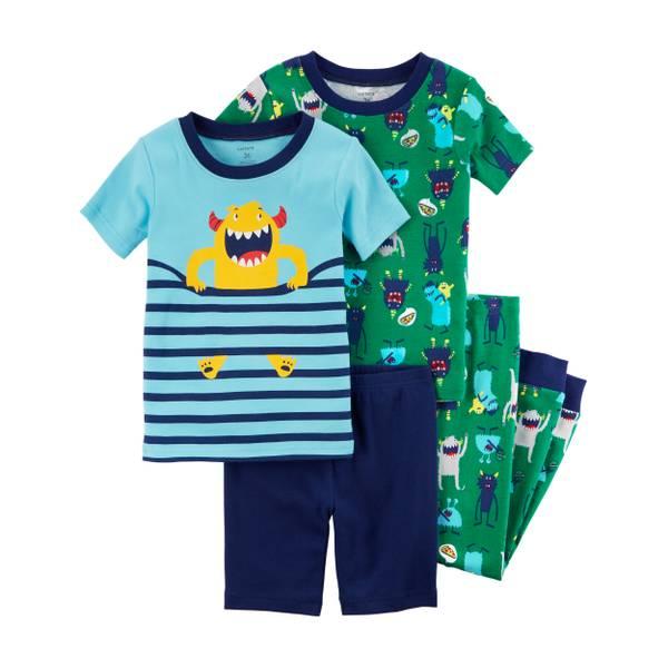 Toddler Boys' 4-Piece Snug Fit Cotton Pajamas
