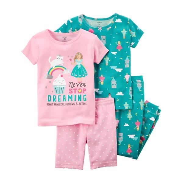 Toddler Girl's 4-Piece Cotton Sleepwear