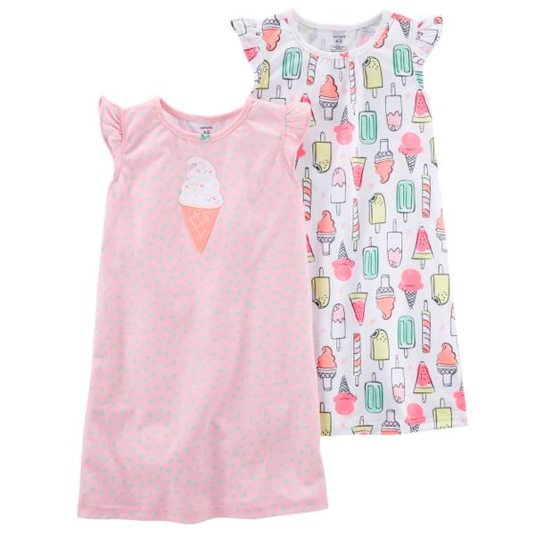 2-Pack Sleep Gown Pink & White