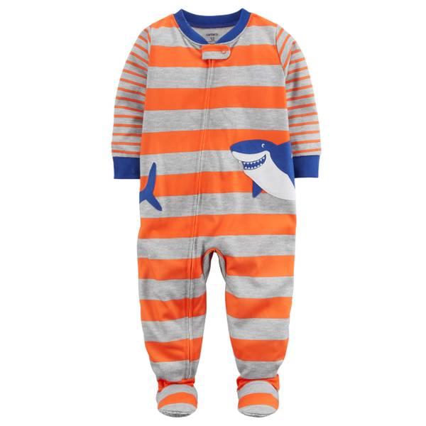 Little Boys' 1-Piece Polyester Sleepwear Shark Orange & Grey