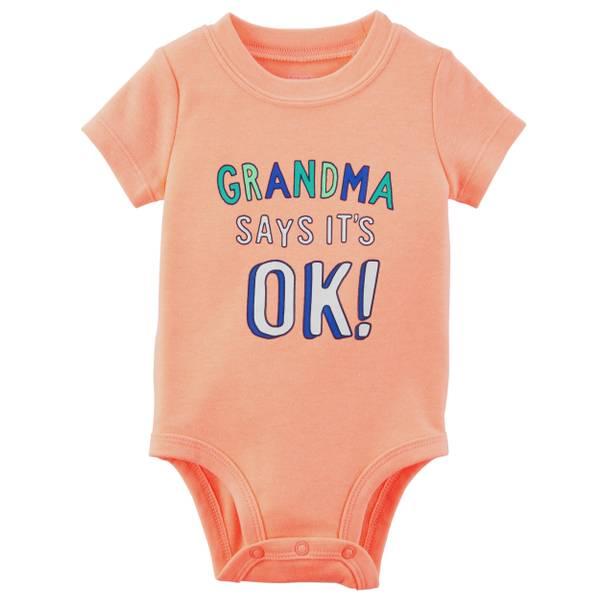 Little Boys' Short Sleeve Slogan Grandma OK Orange