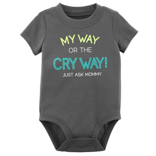 Little Boys' Short Sleeve Slogan Cry Way Dark Grey