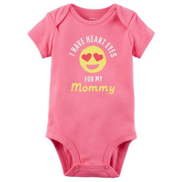 Little Girl's Short Sleeve Slogan Heart Eye Pink Bodysuit