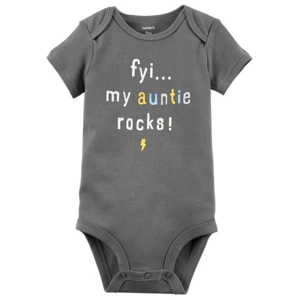 Little Boys' Short Sleeve Slogan Auntie Rock Dark Grey