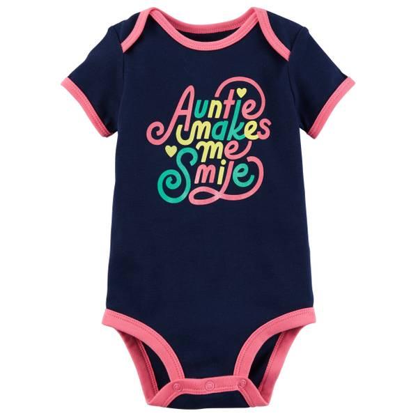 Little Girls' Short Sleeve Slogan Auntie Navy