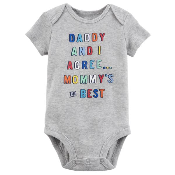 Little Boys' Short Sleeve Slogan Mommy is The Best Grey