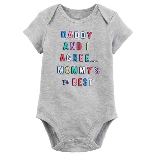 Little Girls' Short Sleeve Slogan Mommy is The Best Grey
