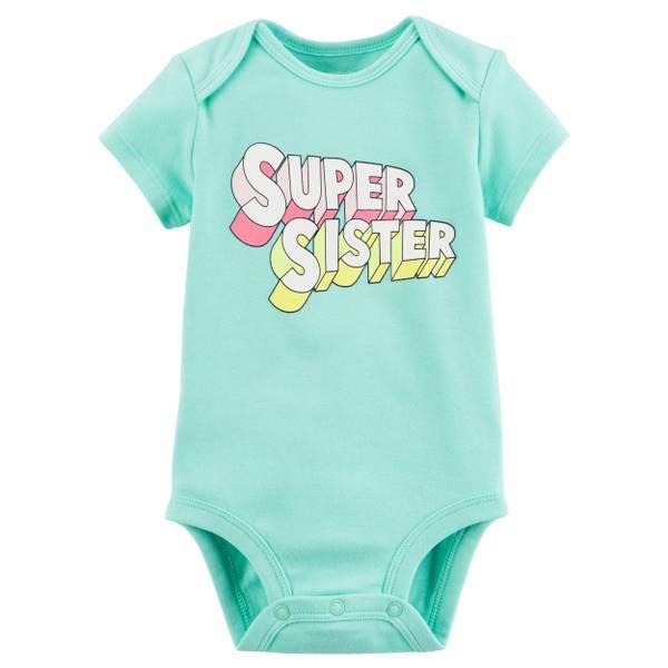 Little Girls' Short Sleeve Slogan Sister Turquoise