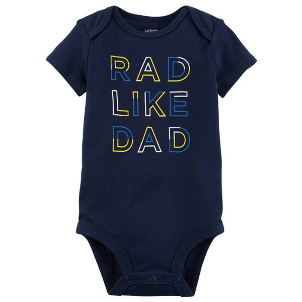 Little Boys' Short Sleeve Slogan Rad Dad Navy